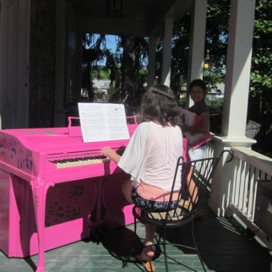 Girl playing Pink Piano Palooza 2014 Selinsgrove, PA