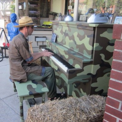 Man Playing Amry colored Piano Palooza 2014 Selinsgrove, PA