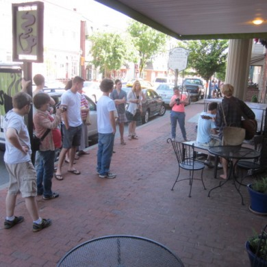 People outside of The Kind Cafe in downtown Selinsgrove, PA Piano Palooza 2014