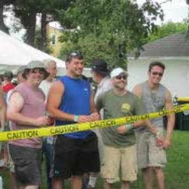 Selinsgrove, PA brew fest line of people standing caution tape