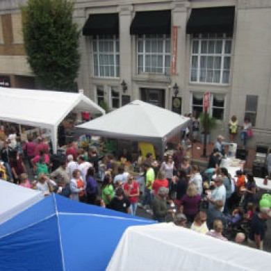 Overhead shot tent event downtown Selinsgrove, PA crowd
